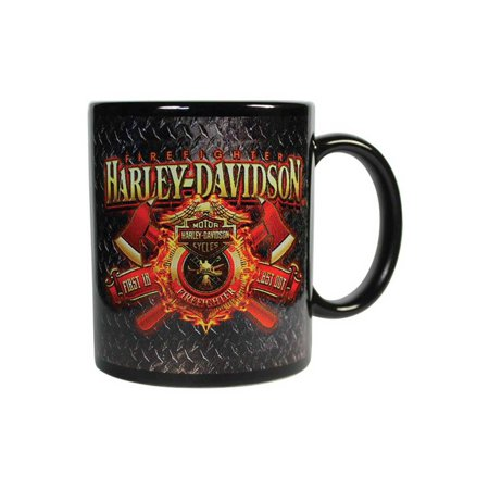 Harley-Davidson Firefighter Original Ceramic Coffee Mug, 11 oz. Black CM126581, Harley Davidson (Harley Davidson Mug Shot Glasses)