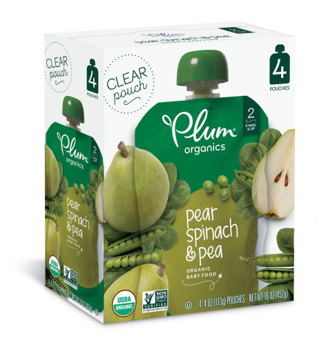 (8-count) Plum Organics  Stage 2 Pear, Spinach & Pea, 4oz, 2, 4-count, boxes