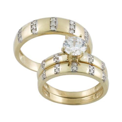 10k Gold Cubic Zirconia Matching His and Hers Bridal-style Ring Set Womens 6, Mens 10