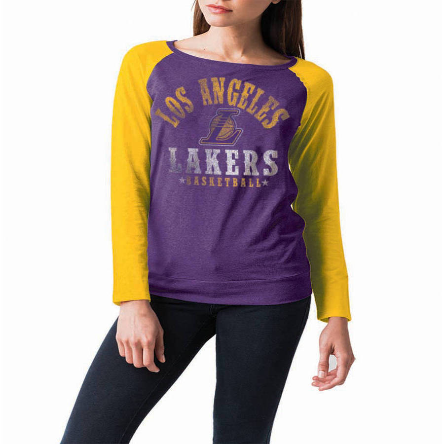 NBA Los Angeles Lakers Women's Long Sleeve Raglan Scoop Neck Tee