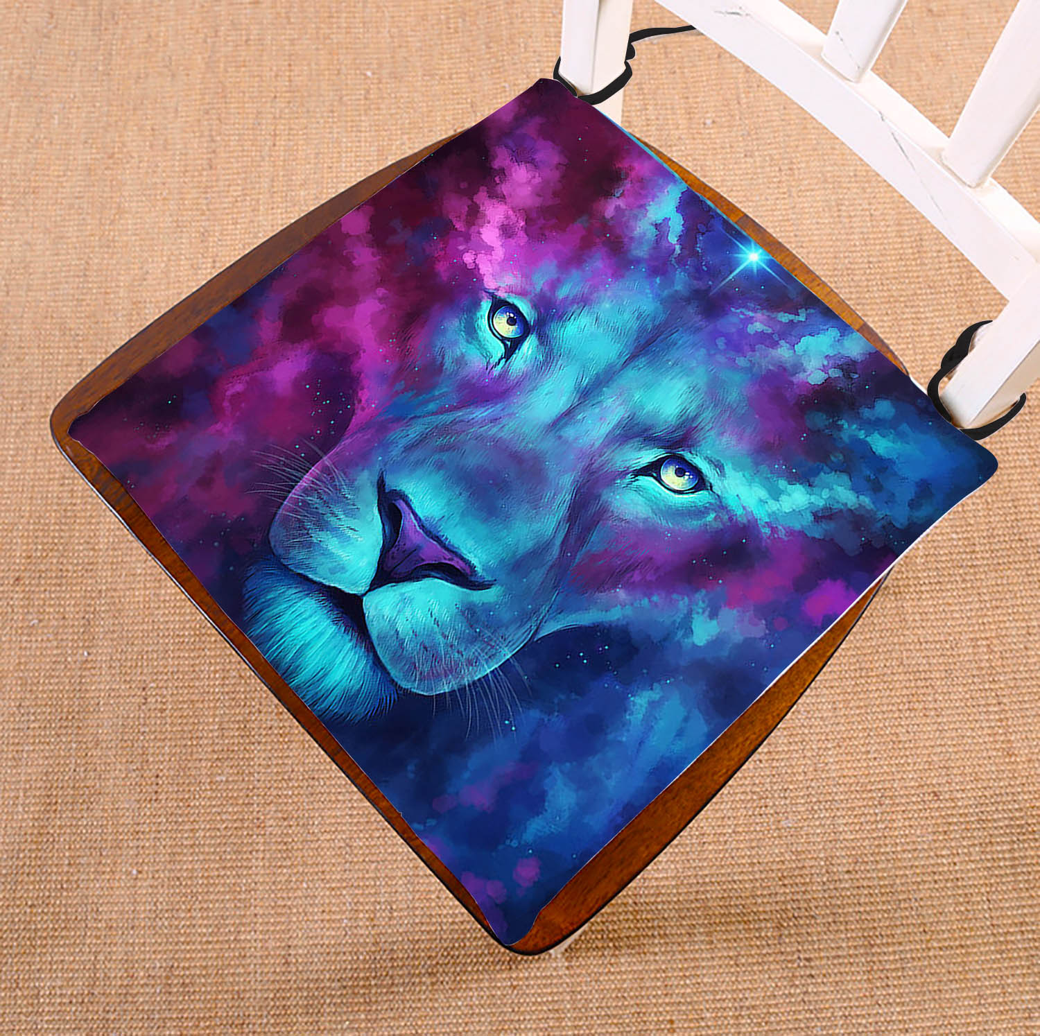GCKG Galaxy Lion Chair Cushion,Galaxy Lion Chair Pad Seat Cushion Chair Cushion Floor Cushion with Breathable Memory Inner Cushion and Ties Two Sides Printing 16x16 inch