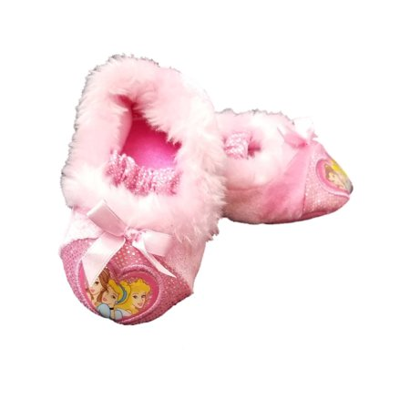 Disney Princess Pink Toddler Girls Glitter Slippers Loafer House Shoes Bell S 5-6 - Disney Princess Glitter Shoes