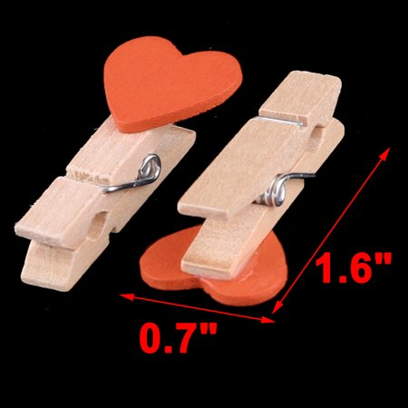 Family Wooden Heart Shape DIY Crafts Card Photo Ornament Peg Clip Orange 10pcs - image 1 of 4