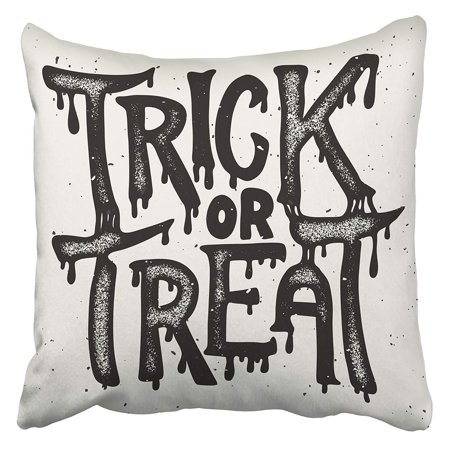 CMFUN Hand Trick Treat Halloween Lettering Design for Drawing Vintage Autumn Black Cartoon Pillowcase Cushion Cover 16x16 inch