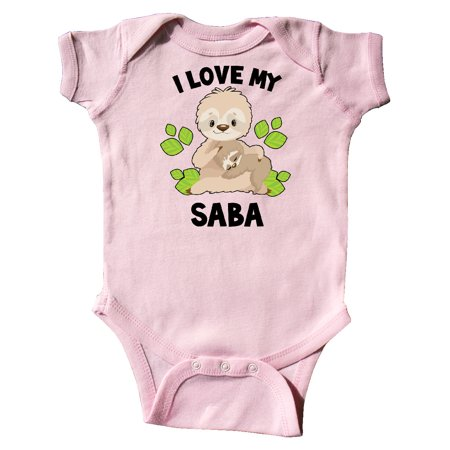 Cute Sloth I Love My Saba with Green Leaves Infant Creeper
