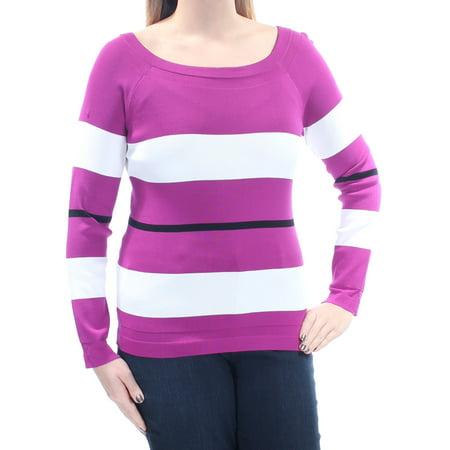 INC Womens Purple Striped Long Sleeve Jewel Neck Sweater Petites  Size: L