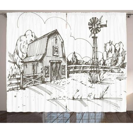 Windmill Curtains 2 Panels Set, Rustic Barn Farmhouse Hand Drawn ...