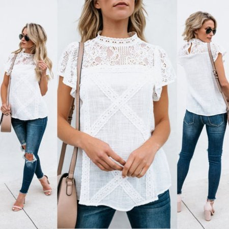 Fashion Women Sexy Summer Loose Casual Crew Neck Lace T Shirt Tops Blouse HOT (Lace Hot Top)