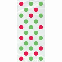 Red and Green Polka Dot Christmas Cellophane Bags, 20ct