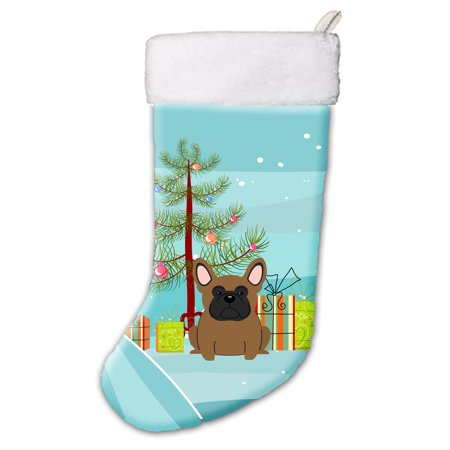 Bulldog Stocking (Merry Christmas Tree French Bulldog Brown Christmas Stocking)