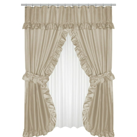 Royal Bath Lauren Double Swag Dobby Fabric Shower Curtain, 100% Polyester, Size 70X72, Color Linen