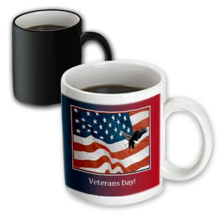 Veterans Day Flag (3dRose Eagle Landing on U.S. Flag, Veterans Day - Magic Transforming Mug,)