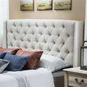 Noble House Ashley Full/Queen Wingback Tufted Beige Fabric Headboard