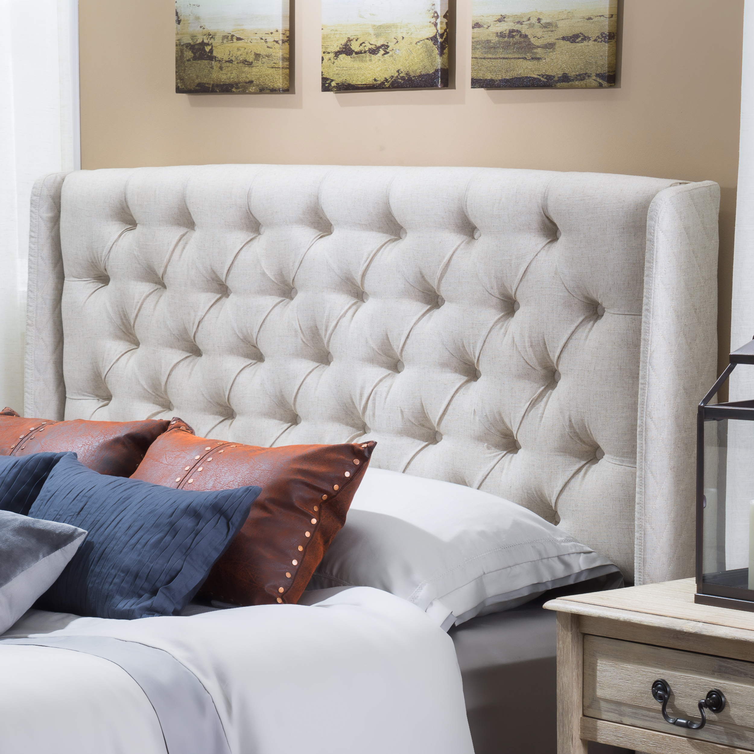 Noble House Ashley Wingback Queen/Full Tufted Beige Fabric Headboard