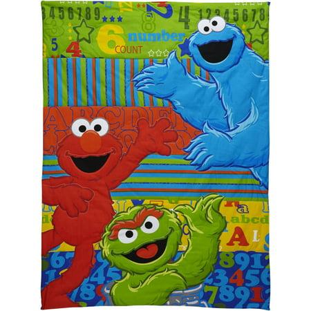 Sesame Street ABC 123 Toddler 4 Piece Bedding Set