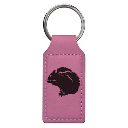 Keychain - Squirrel - Personalized Engraving Included (Pink Rectangle)