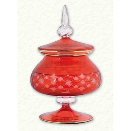 Red Clear Etched Egyptian Blown Glass Full Candy Dish Ring Holder Made in Egypt