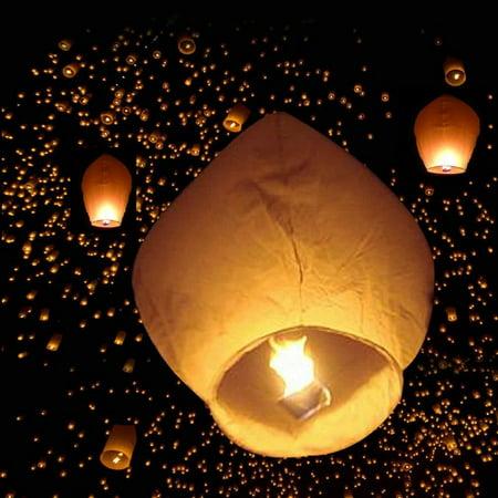 Make Halloween Decorations Paper (SEGMART 50 Pack Lanterns, Wish Lights, Eco-Friendly Retardant Paper 100% Biodegradable, Holiday Decoration for Halloween Weddings Birthdays, White,)