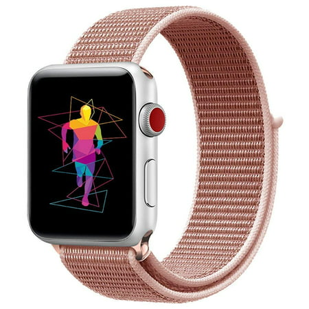 Apple Watch Replacement 38mm Bands, Soft Lightweight Breathable Nylon Sport Loop Replacement Strap for iWatch Apple Watch Series 3, Series 2, Series 1, Hermes, Nike+ - Rose Gold - image 1 of 1
