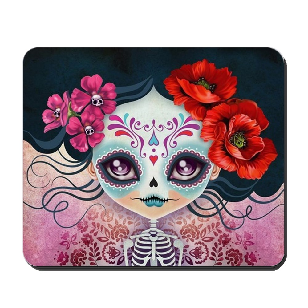 CafePress - Amelia Calavera Sugar Skull - Non-slip Rubber Mousepad, Gaming Mouse Pad