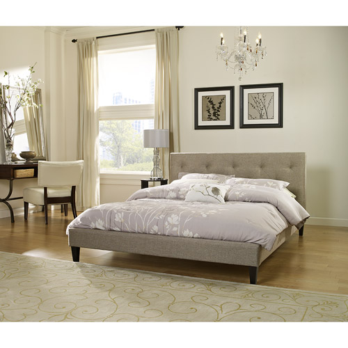 Premier Sierra Full Upholstered Platform Bed Frame, Taupe with Bonus Base Wooden Slat System