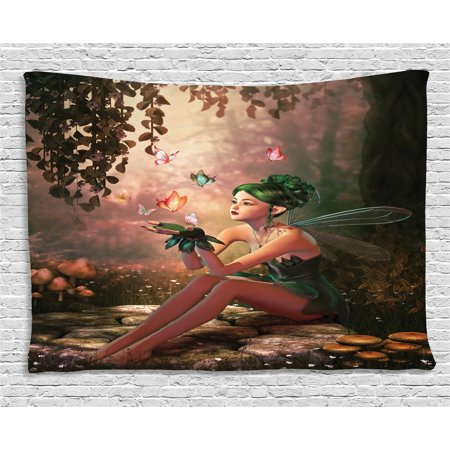 Fairy Tapestry, Girl with Wings and Butterflies Digital Composition Computer Graphics Elven Creature, Wall Hanging for Bedroom Living Room Dorm Decor, 60W X 40L Inches, Multicolor, by (Wings Tapestry)