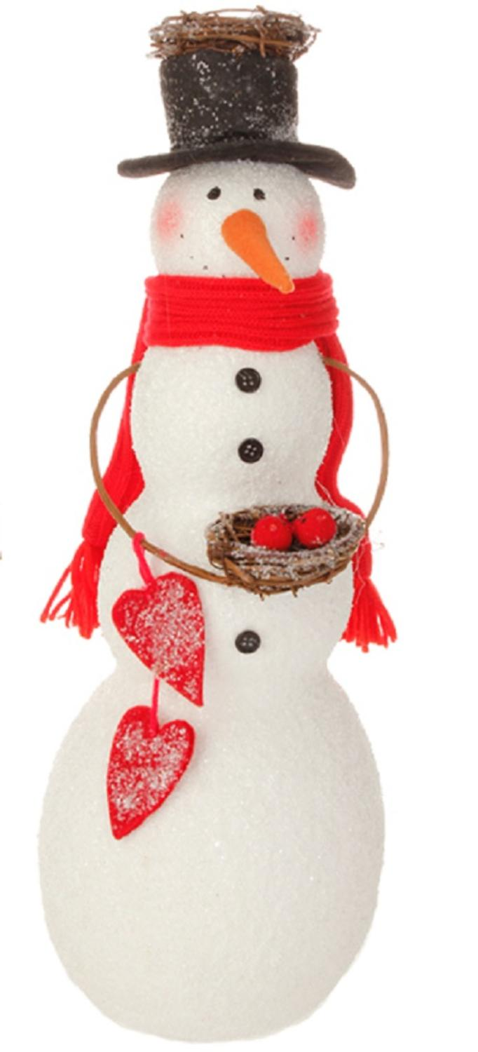 "18"" Alpine Chic Snowman Holding Bird Nest Christmas Tabletop Decoration"