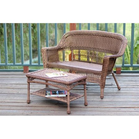Jeco W00205-LCS Honey Wicker Patio Love Seat And Coffee Table Set Without Cushion