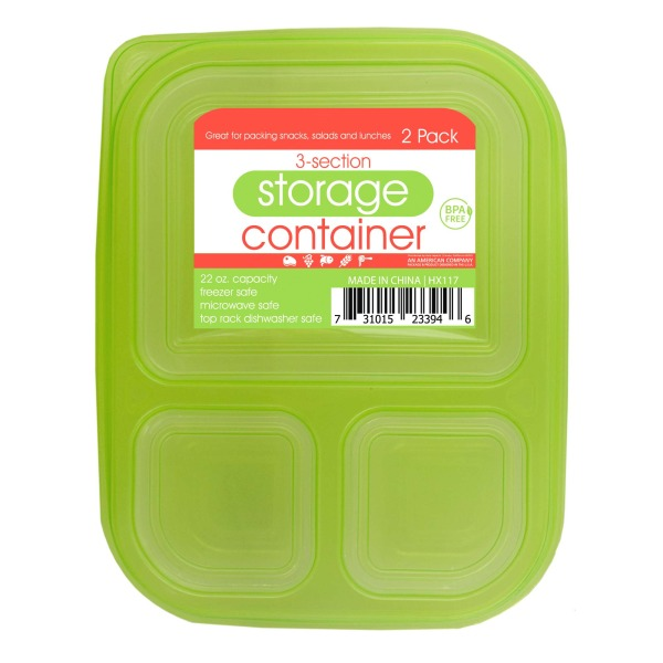 3-Section Food Storage Container Set (Pack Of 24)
