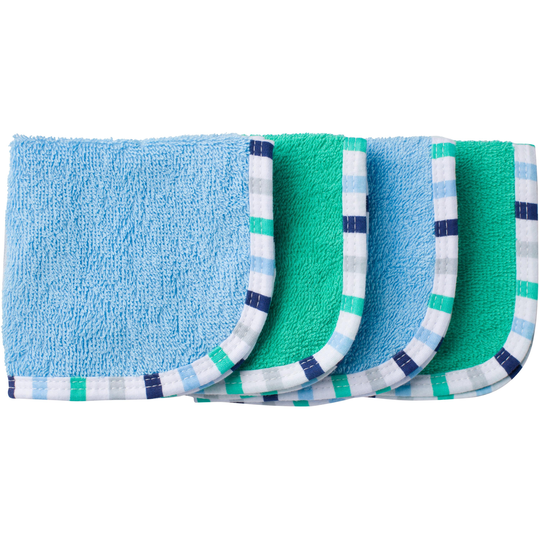 Newborn Baby Boy Assorted Woven Premium Solid Washcloths, 4-Pack