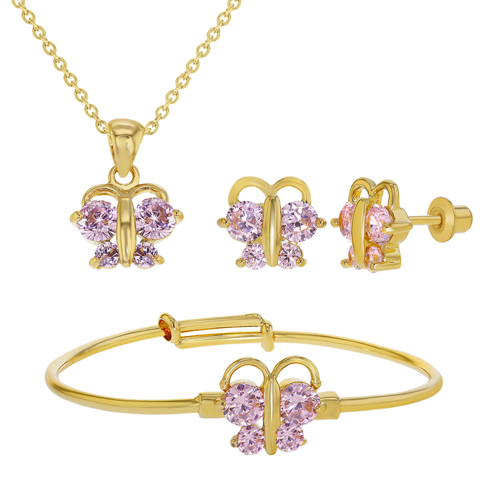 18k gold plated pink cz butterfly jewelry set babies