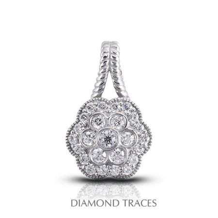 UD-OS2759-3852 0.81 Carat Total Natural Diamonds 18K White Gold Pave & Bezel Setting Flower Shape with Rope Edging Fashion Pendant