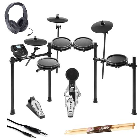 Alesis Nitro Mesh 8 Piece Electronic Drum Kit with Sticks + Headphone +10' Cable (Alesis Audio Mixer)