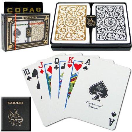 - Poker Size Regular Index 1546 Playing Cards 2 decks (Black Gold Setup), Two regulation-size poker decks By Copag