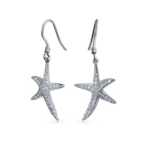Nautical Ocean Tropical Beach Cubic Zirconia Pave CZ Starfish Drop Dangle Earrings For Women 925 Sterling Silver - image 4 de 4