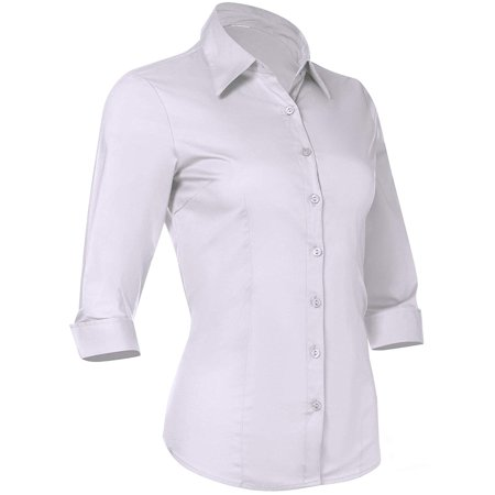 Pier 17 Button Down Shirts for Women 3 4 Sleeve Fitted Dress Shirt and Blouses Work Top (X-Small, New White)