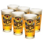 US Army 16 oz. Pint Glass Army Antique Armor (Set of 6) by Erazor Bits