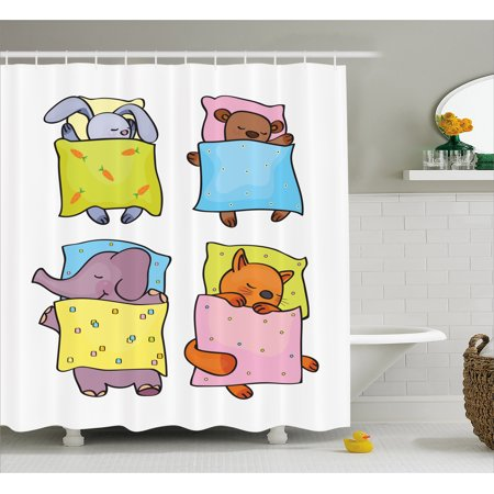 Halloween Themed Sleepover Ideas (Baby Shower Curtain, Sleepy Animal Siblings Friendship Sleepover Theme Cute Kitten Cub Rabbit and Calf, Fabric Bathroom Set with Hooks, 69W X 70L Inches, Multicolor, by)