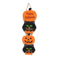 Way To Celebrate Halloween Black Cat and Jack O' lantern Hanging Decor