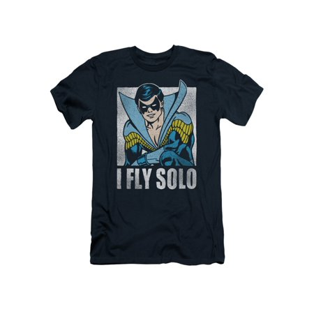 Nightwing DC Comics Superhero Retro Disco Costume I Fly Solo Adult Slim T-Shirt