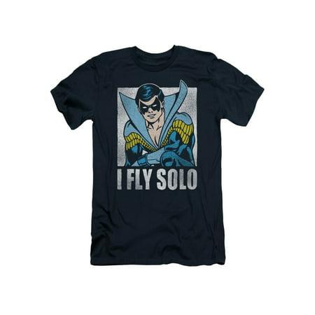 Nightwing DC Comics Superhero Retro Disco Costume I Fly Solo Adult Slim T-Shirt
