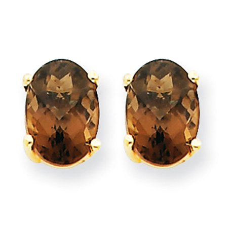 14k Yellow Gold Polished 7mm X 5mm Oval Shaped Smoky Quartz Earrings