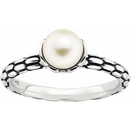Sterling Silver Stack Exp  Polished Patterned White Fw Cultured Pearl Ring