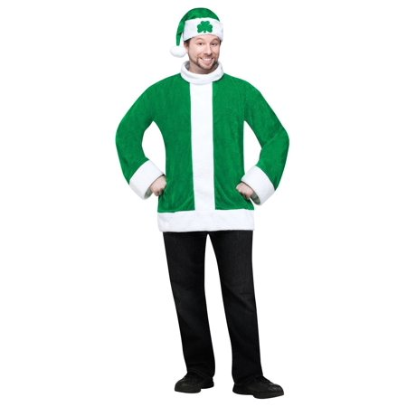 Green Christmas Santa Sant O' Claus Shirt & Hat Holiday Adult Costume Std