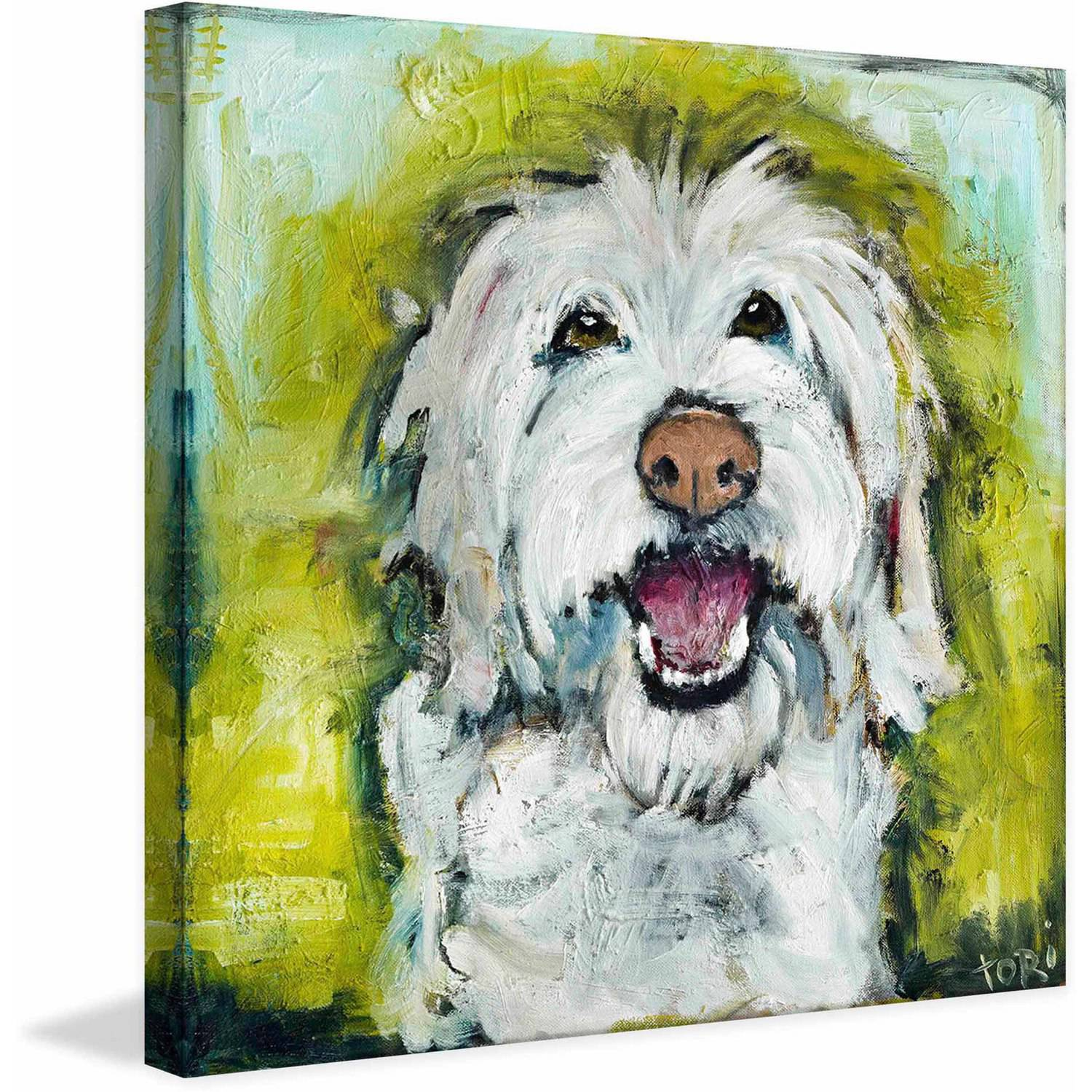 """Marmont Hill """"Smiley Dog"""" by Tori Campisi Painting Print on Canvas"""