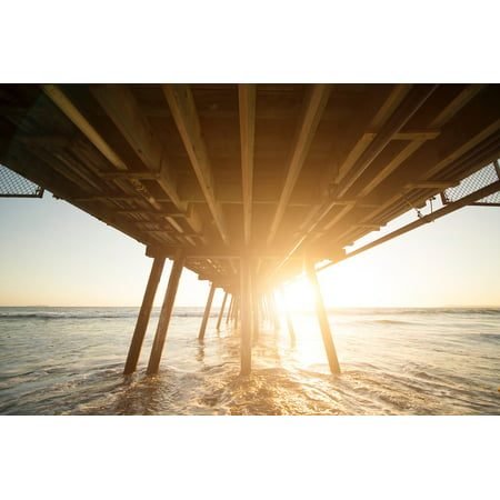 LAMINATED POSTER Ocean Wooden Bridge Water Wave Sea Sunrise Poster Print 24 x (Wooden Wave)