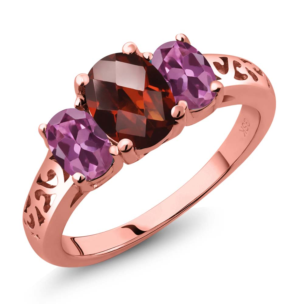 2.40 Ct Oval Checkerboard Red Garnet Pink Tourmaline 18K Rose Gold Plated Silver 3-Stone Ring by