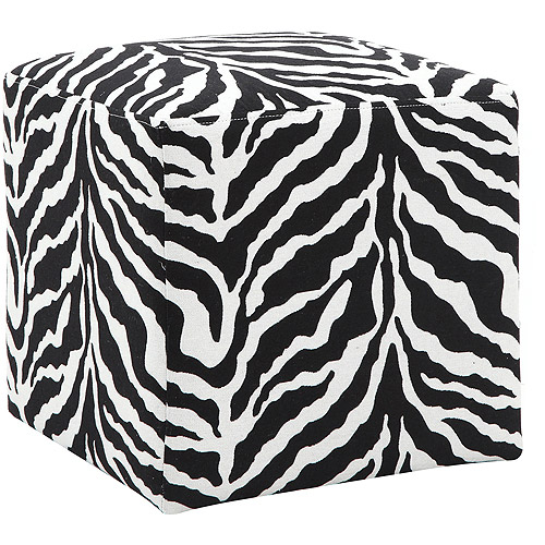 Adiga Cube Ottoman, Zebra by Dwell Home Inc