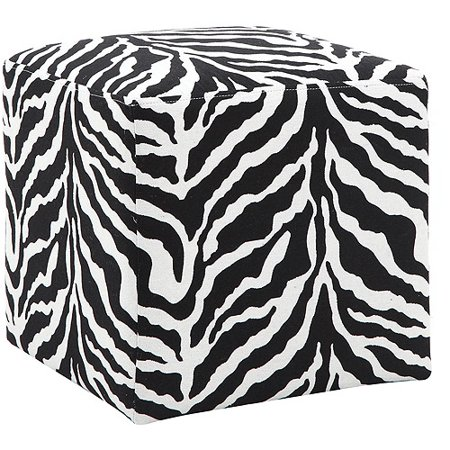 DHI Adiga Woven Upholstered Cube Ottoman, Zebra Print