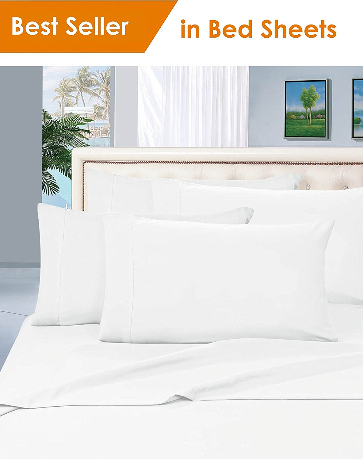 Elegant Comfort® Luxury Silky Soft 1500 Series Premium Collection   Wrinkle  Free 4 Piece Bed Sheet Set, Deep Pocket Up To 16 Inch, Queen White